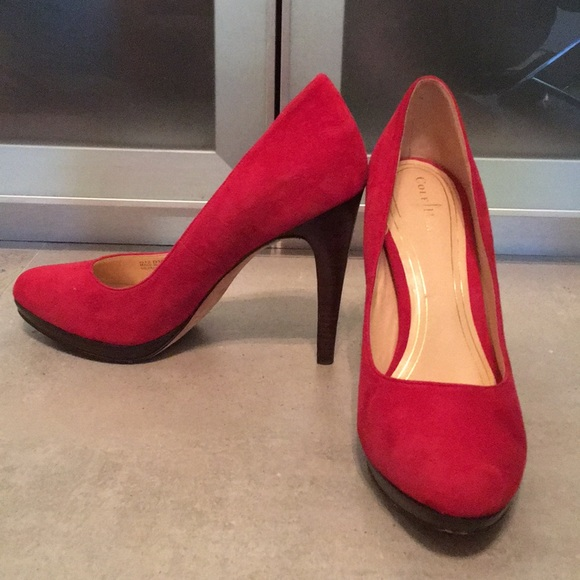 15fa0afac3f Cole Haan Nike Air Red Suede Heels Pumps
